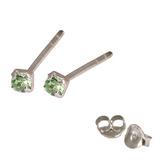 Silver Crystal Studs ST11 - ST12 - ST13 - Claw Set Light Green / ST11. Claw set. 1.5mm jewel