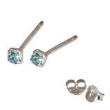 Silver Crystal Studs ST11 - ST12 - ST13 - Claw Set Light Blue / ST11. Claw set. 1.5mm jewel