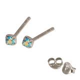 Silver Crystal Studs ST11 - ST12 - ST13 - Claw Set Aqua AB / ST11. Claw set. 1.5mm jewel