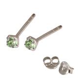 Silver Crystal Studs ST11 - ST12 - ST13 - Claw Set Light Green / ST12. Claw set. 2.0mm jewel