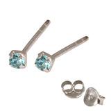 Silver Crystal Studs ST11 - ST12 - ST13 - Claw Set Light Blue / ST12. Claw set. 2.0mm jewel