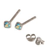 Silver Crystal Studs ST11 - ST12 - ST13 - Claw Set Aqua AB / ST12. Claw set. 2.0mm jewel