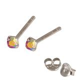 Silver Crystal Studs ST11 - ST12 - ST13 - Claw Set Rose AB / ST12. Claw set. 2.0mm jewel
