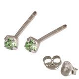 Silver Crystal Studs ST11 - ST12 - ST13 - Claw Set Light Green / ST13. Claw set. 2.5mm jewel