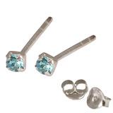 Silver Crystal Studs ST11 - ST12 - ST13 - Claw Set Light Blue / ST13. Claw set. 2.5mm jewel