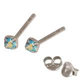 Silver Crystal Studs ST11 - ST12 - ST13 - Claw Set Aqua AB / ST13. Claw set. 2.5mm jewel