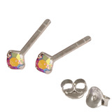 Silver Crystal Studs ST11 - ST12 - ST13 - Claw Set Rose AB / ST13. Claw set. 2.5mm jewel