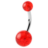 Acrylic Glitter Belly Bars 6mm, Red