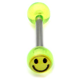 Acrylic Smiley Tongue Barbell 1.6x10mm / Green / 6