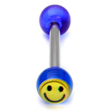 Acrylic Smiley Tongue Barbell 1.6x14mm (most popular) / Blue / 6