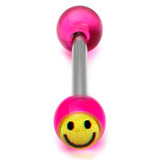 Acrylic Smiley Tongue Barbell 1.6x14mm (most popular) / Purple / 6