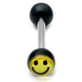 Acrylic Smiley Tongue Barbell 1.6x16mm / Black / 6