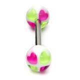 Acrylic Heart Barbell 14 (most popular) / Purple-Green / 6