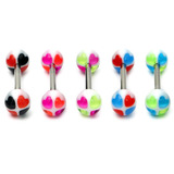 Acrylic Heart Barbell 16 / Mixed pack of 5 as shown / 6