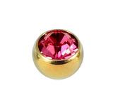Titanium Threaded Jewelled Balls 1.6x5mm Gold metal, Fuchsia Gem