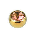 Titanium Threaded Jewelled Balls 1.6x5mm Gold metal, Light Pink Gem