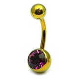 Titanium Single Jewelled Belly Bars 12mm Anodised Gold, Purple