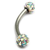 Belly Bar - Smooth Glitzy Ball (5mm balls) 1.6mm, 6mm, 5mm, Crystal AB (Rainbow)