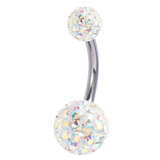 Belly Bar - Smooth Glitzy Ball (8mm and 5mm balls) 1.6mm, 12mm, 5mm and 8mm, Crystal AB (Rainbow)