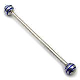 Steel Pick and Mix Industrial Scaffold Barbells 1.6mm, 34mm, 5mm, Steel Saturn Balls - Blue