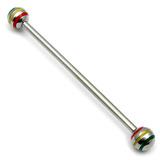 Steel Pick and Mix Industrial Scaffold Barbells 1.6mm, 38mm, 5mm, Steel Saturn Balls - Rasta