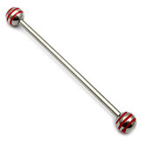 Steel Pick and Mix Industrial Scaffold Barbells 1.6mm, 34mm, 5mm, Steel Saturn Balls - Red