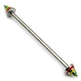 Steel Pick and Mix Industrial Scaffold Barbells 1.6mm, 36mm, 5mm, Steel Saturn Cones - Rasta