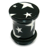 Acrylic Plugs Black with Big White Stars 4 / Black with White Stars