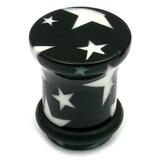 Acrylic Plugs Black with Big White Stars 4 / Black with White Stars