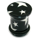 Acrylic Plugs Black with Big White Stars 6 / Black with White Stars