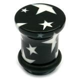 Acrylic Plugs Black with Big White Stars 6 / Black with White Stars