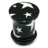 Acrylic Plugs Black with Big White Stars 8 / Black with White Stars