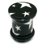 Acrylic Plugs Black with Big White Stars 10 / Black with White Stars