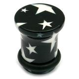 Acrylic Plugs Black with Big White Stars 10 / Black with White Stars