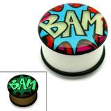 Acrylic Comic Plug BAM: Glow in the Dark / 16