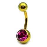 Titanium Single Jewelled Belly Bars 10mm Anodised Gold, Fuchsia