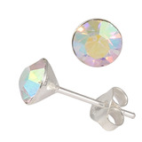Silver Crystal Studs ST8 - ST9 - ST10 6mm Crystal AB (ST9)