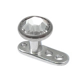 Titanium Dermal Anchor with Jewelled Disk Top (4mm diameter - standard) 2.0mm, Crystal Clear