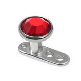 Titanium Dermal Anchor with Jewelled Disk Top (4mm diameter - standard) 2.0mm, Red