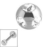 Titanium Multi-Gem Jewelled Ball 1.2mm High Polish - Mirror Polish / Crystal Clear