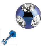 Titanium Multi-Gem Jewelled Ball 1.2mm Blue / Crystal Clear