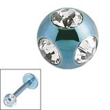 Titanium Multi-Gem Jewelled Ball 1.2mm Ice Blue / Crystal Clear