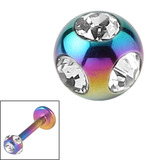 Titanium Multi-Gem Jewelled Ball 1.2mm Rainbow / Crystal Clear