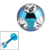 Titanium Multi-Gem Jewelled Ball 1.2mm Turquoise / Crystal Clear