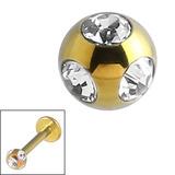 Titanium Multi-Gem Jewelled Ball 1.2mm Gold / Crystal Clear