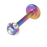 Titanium Multi-Gem Jewelled Labret 1.2mm, 8mm, Rainbow, Crystal Clear