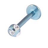 Titanium Multi-Gem Jewelled Labret 1.2mm, 10mm, Ice Blue, Crystal Clear