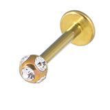 Titanium Multi-Gem Jewelled Labret 1.2mm, 12mm, Gold, Crystal Clear