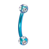 Titanium Multi-gem Micro Curved Barbell 1.2mm 1.2mm, 6mm, Turquoise, Crystal Clear