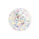 Smooth Glitzy Threaded Balls - one only 1.6mm, 4mm, Crystal AB (Rainbow)